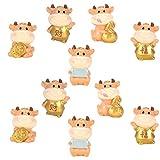 Cabilock 10 unidades 2021 del zodiaco chino del año nuevo estatuas de buey, decoración para tarta de hadas en miniatura 2021
