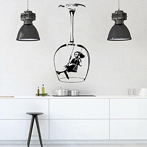Pegatina de pared de niña mecedora Graffiti cultura callejera copa de vino calcomanía de vinilo para decoración del hogar papel tapiz A1 57x26cm