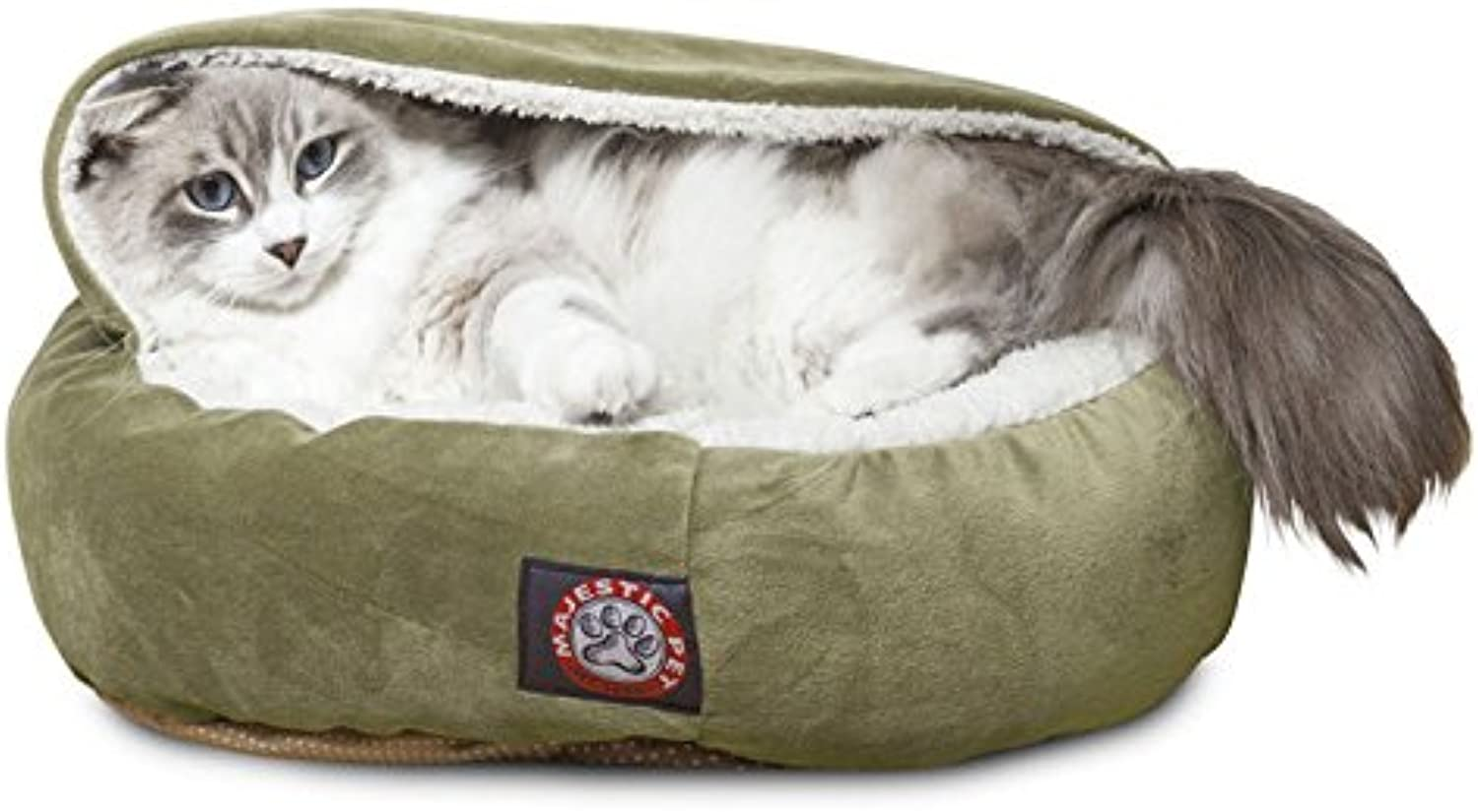 Majestic Pet 18 inch Sage Suede Canopy Cat Bed