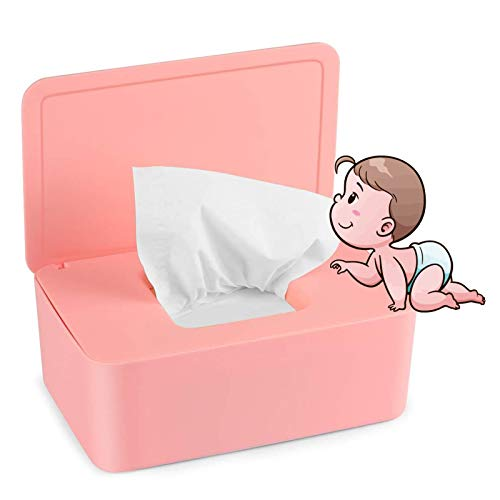 Caja para Toallitas Húmedas, Dispensador de Toallitas Humedas, Caja de almacenamiento de pañuelos con tapa, Caja de almacenamiento de pañuelos a prueba de polvo para Oficina en casa (Rosado)