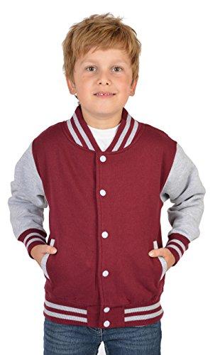 SH-Topshop - Stefan Hohenwarter Coole College Jacke für Jungs mit Rückenmotiv - Butterfly - Schmetterling - Böser Smiley - Farbe: Bordeaux-rot