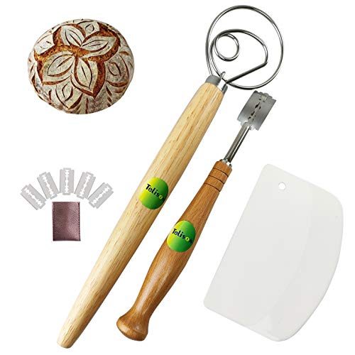Telison Danish Dough Whisk and Lame Set, Bread Scoring Knife Stainless Steel Hook Wooden Handel Making Tools To Mixing Sourdough Baking Pizza