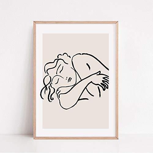 Carteles e impresiones retro de Matisse arte de pared de cara de cuerpo abstracto pintura de lienzo sin marco de planta colorida C 40x60cm