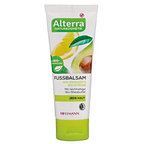 Alterra Fussbalsam Bio-Avocado & Bio-Zitrone 75 ml für jede Haut, mit reichhaltiger Bio-Sheabutter, zertifizierte Naturkosmetik