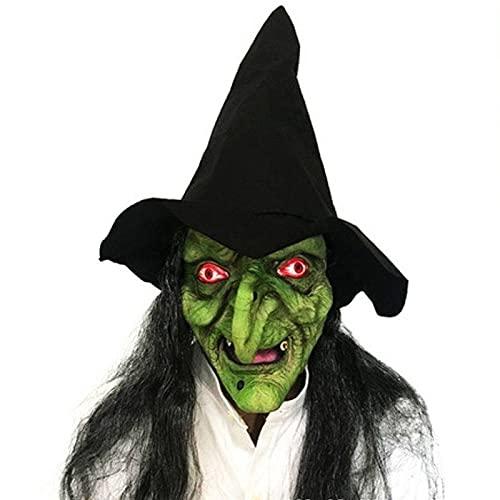 HanOBC Máscara de bruja vieja con sombrero y pelo látex Halloween terrorífico bruja máscaras