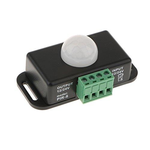 Baoblaze DC12-24V 8A Interruptor de Sensor de Movimiento de Ocupación Sensor de Detección de Infrarrojos del Cuerpo Humano, 2 Colores - Negro, Individual