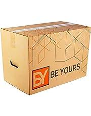 BY BE YOURS Pack de 20 Cajas Carton Mudanza con asas - 430x300x250 mm - Cajas Mudanza Ultra Resistentes - Cajas Almacenaje Fabricadas en España