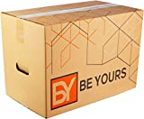 BY BE YOURS Pack de 10 Cajas Carton Mudanza Grandes con asas - 500x300x300 mm en Cartón Doble -...