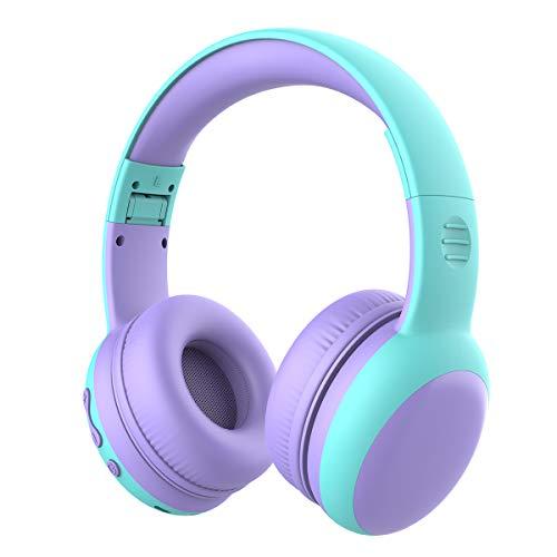 Cuffie Bluetooth per Bambini, Limitatore audio a 85 dB, Bambini Cuffie Senza Fili Over Ear, Stereo Cuffie per Bambini con Microfono, Cuffie Pieghevoli per Ragazzi e Ragazze - viola