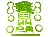 18 PCS Full Set Interior Decoration Trim Kit Steering Wheel Center Console Door Handle Air Conditioning Vent Cup Holder Gear Cover Trim for Jeep Wrangler JK JKU 2011-2018 4-Door (Green)