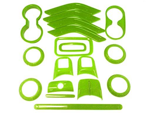 E-cowlboy 18 PCS Full Set Interior Decoration Trim Kit,Interior Door Handle Cover Trim,Air Conditioning Vent Cover Trim, Copilot Handle Cover Trim for Jeep Wrangler JK JKU 2011-2018 4-Door