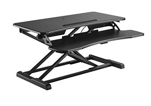 HALTERUNGSPROFI Steh-Sitz Schreibtisch Sit-Stand Workstation Höhenverstellbarer Aufsatz für den Schreibtisch, zum Arbeiten im Sitzen oder Stehen mit Gasdruckfeder GTS-011 (80cm)