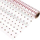 STOBOK Zellophan-Wickelrolle| 100 Fuß X 16 Zoll| 2. 5 Mil Dick Transparent| Red Dot Florist Klares Umhüllungspapier für Geschenkkörbe Blumen Lebensmittel Kunsthandwerk Behandelt