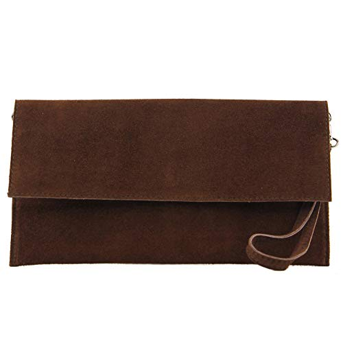modamoda de - cuero italiano de embrague T151 Pequeño Gamuza, Color:Marrón chocolate