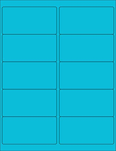 "8-1/2 x 11"" Neon Color High Light Fluorescent Labels for Laser & Inkjet Printer (Blue Fluorescent, 4 x 2"" - 10 Per Page   250 Labels)"