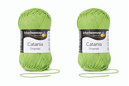 Schachenmayr since 1822 9801210-00418 Catania - Ovillo de lana (2 unidades, algodón, 50 g), color verde