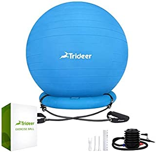 Trideer Ball Chair, Exercise Stability Yoga Ball with Base & Resistance Bands for Home and Office Desk, Flexible Ball Seat with Pump, Improves Balance, Core Strength & Posture