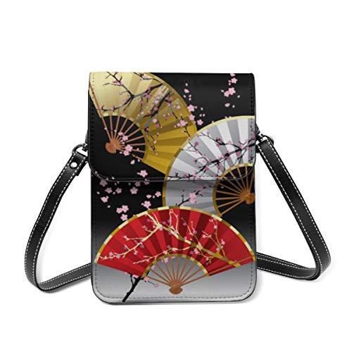 Rosa artístico japonés cereza asiática Crossbody caja del teléfono celular, cuero bolso ranuras para tarjetas cartera teléfono bolsillo Baggap embrague
