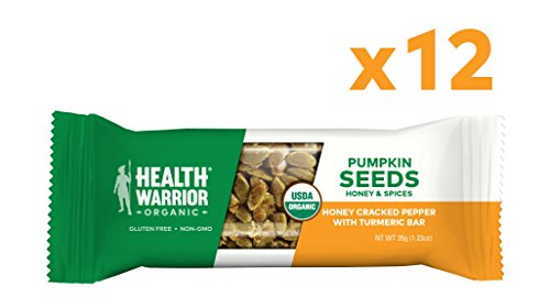 Health Warrior Pumpkin Seed Protein Bars, Honey Cracked Pepper Turmeric, 8g Plant Protein, Gluten Free, Certified Organic, 12 Count