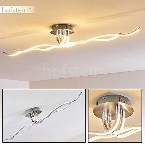 LED Deckenleuchte Corato, moderne Deckenlampe aus Metall in Nickel-matt mit wellenförmigen Lichtleisten, 40 Watt, 2400 Lumen, Lichtfarbe 3000 Kelvin (warmweiß)