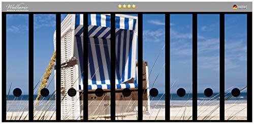 Wallario Ordnerrücken Sticker Strandkorb in Premiumqualität - Größe 54 x 30 cm, passend für 9 breite Ordnerrücken