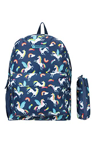 Mountain Warehouse Bookworm 20L Backpack - Pencil Case Daysack - Ideal Backpack, Festivals, Camping Navy