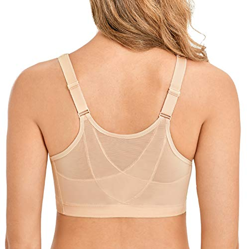 LAUDINE Women's Front Closure Wireless Back Support Full Coverage Posture Bra Beige 52G