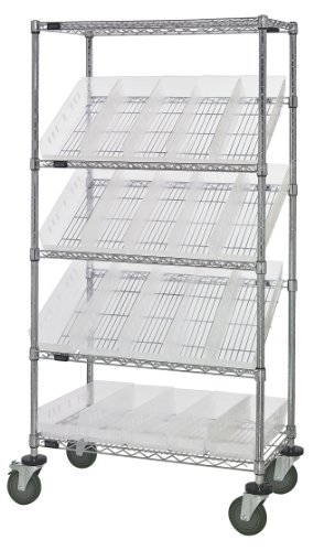 Quantum Storage Systems WRCSL5-63-1836-104CL 5-Tier Slanted Wire Shelving Suture Cart with 20 QSB104 Clear-View Economy Shelf Bins 2 Horizontal and 3 Slanted Shelves Chrome Finish 69 Height x 36 Width x 18 Depth