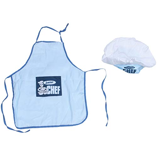 tellaLuna Childs Kids Chef Delantal de Sombrero Cocina Hornear Boy Girl Chefs Junior Gift (Azul)