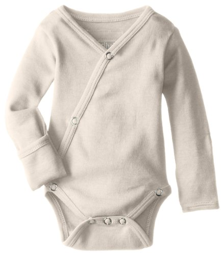 L'ovedbaby Unisex-Baby Organic Cotton Kimono Long Sleeve Bodysuit, Beige, 0/3 Months