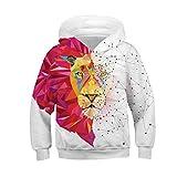 BaZhaHei Sweat-Shirt Fille Garçon pour Casual Enfant à Capuche Fantaisie 3D Impression Hooded Sweatshirt Costume de Festival 4-13 Ans (4-5 Ans,Blanc Lion)
