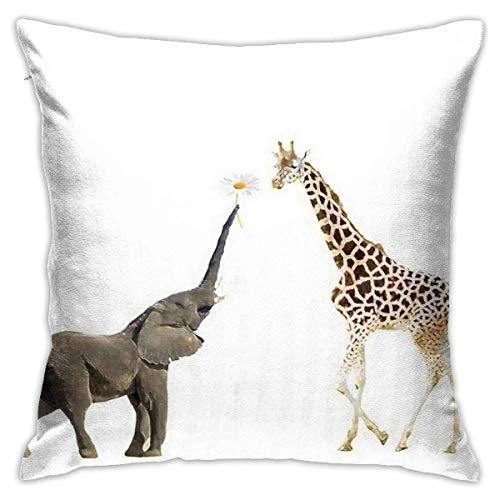 N/Q 45X45cm Throw Pillowcase,Animals Giraffe and Elephant Square Outdoor Pillowcase Sofa Cover Decorative Cushion Cover, Soft, Used for Car Bed Living Room