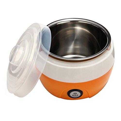 OUNONA 1L Automatic Yogurt Maker - Electronic Stainless Steel Tank Home Yogurt Making Machine with US Plug (Orange)