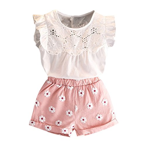 De feuilles De feuilles Baby Kinderkleidung für Mädchen Sommer Ärmellos Sommerlich Blumenmuster Rüschen Hülse Tops T-Shirt + Shorts Set Anzug Outfits Kleidung