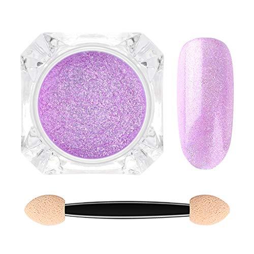 Janly Clearance Sale Polvo de brocado de uñas en polvo de fuegos artificiales mágicos espejo de uñas, para mujer arte de uñas en casa (F)