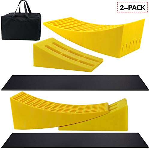 Eazy2hD Camper Leveler 2 Pack - RV Leveling Blocks, Includes Two Curved Levelers, Two Chocks, and Two Rubber Grip Mats, Heavy Duty Leveler Works for Camper