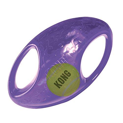 KONG – Jumbler Football – Interaktives Apportierspielzeug mit Tennisball (Farbvar.) – Für Große/Sehr Große Hunde