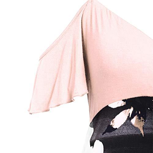Vestido de Fiesta Noche Largo Mangas Cortas Cuello en V Gasa Mujer Asunción de la Virgen Primavera Verano Otoño