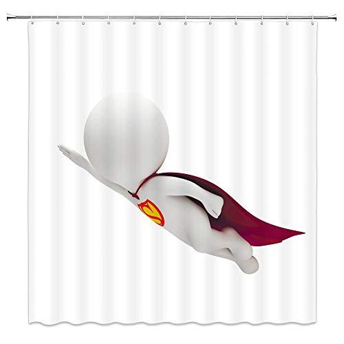 Superman Duschvorhang Dekor Cartoon Superman mit einem roten Umhang Badezimmer Vorhang Wasserdichter Polyester Stoff Maschine Waschbar mit 12 Stück Haken