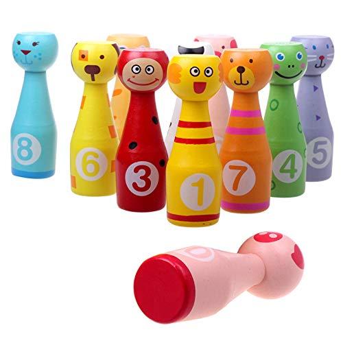 Suny Smiling Großes Bowling-Set aus Holz für Kinder, Kegelspielzeug für Kleinkinder, mit 10 Tiernadeln und 3 Bällen, Outdoor-Sportspiele, Party-Schüsseln, Familienspiele, Lernspielzeug
