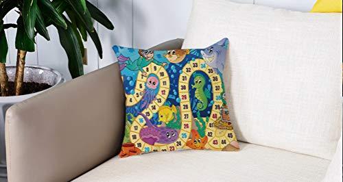 Mingdao Home Decor Sofa Werfen Kissenbezüge,Brettspiel, Unterwasser Wildlife Oceanic Game Bild Tiere Muscheln Tresure Piratenschiff Kunst, Multicolor,Kissen Cover Square Pillowcase