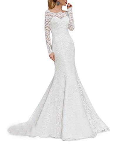OYISHA Women's 2019 Lace Mermaid Wedding Dresses Long Sleeve Boat Neck Bride Dress Ivory 6