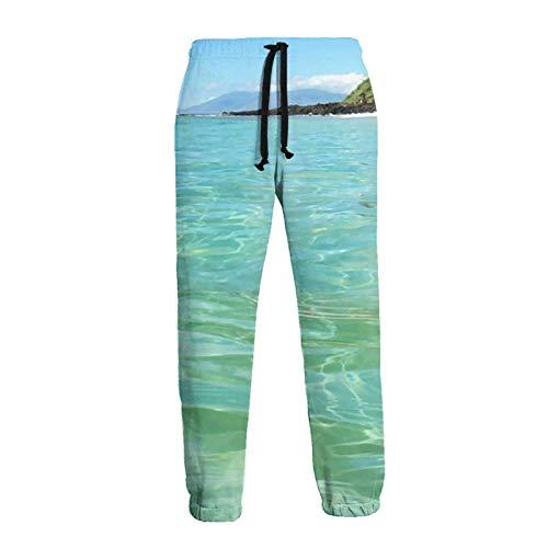 AEMAPE Männer's Maui Time Square Sticker Jogger Jogginghose Elastic Waist Lange Hosen mit Kordelzug und Taschen