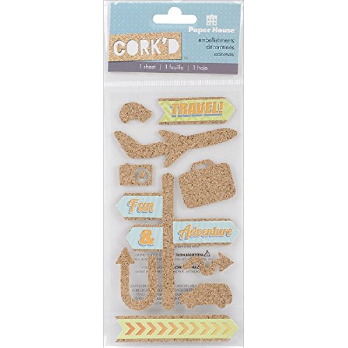 Paper House Productions STCO-0007E Cork'd Embellishments, Travel dppor48430220241