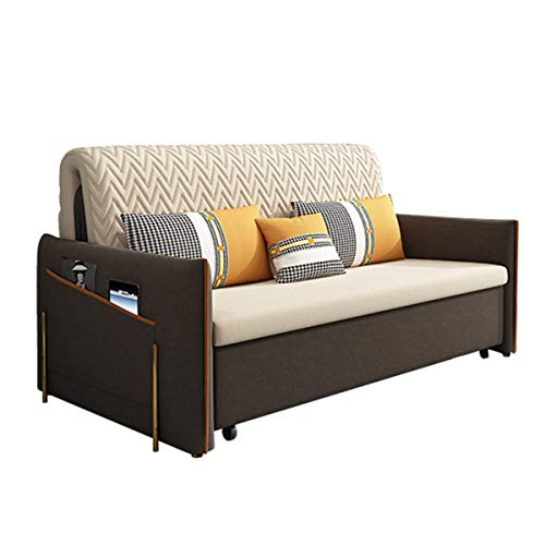 Home Equipment Living Room Loveseat Sofa Pull Out Futon Couch Sofa Bed with Storage Space And Armrest Design Furniture Decoration European Soft Suede Sleeper Sofa Convertible Bed for Apartment Oran