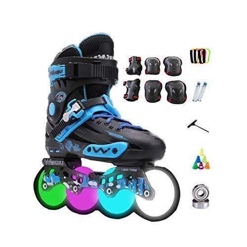 Taoke Inline-Skates, Erwachsene einreihig Skates Professionelle Männer und Frauen Skates Kind zusätzlich Flash-Roller Skates Full Set (Farbe: Schwarz, Größe: 35 EU / 4 US / 3 UK / 22.5cm JP) dongdong