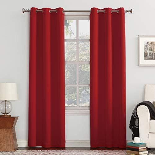 """Sun Zero Easton Grommet Curtain Panel, 40"""" x 63"""", Red"""