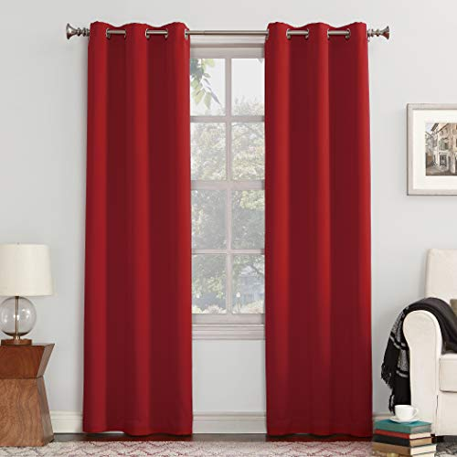 "Sun Zero 50952  Easton Blackout Energy Efficient Grommet Curtain Panel, 40"" x 108"", Red"