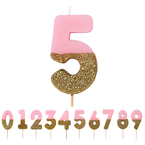 Talking Tables Pink Number 5 Candle with Gold Glitter Premium Quality Cake Topper Decoration for Kids, Adults, 50th Birthday Party, Anniversary, Milestone Age, Height 8cm, 3', PINK5