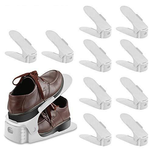 LITZEE 10 Stück Einstellbare Schuhregale, Kunststoff Schuhrganizer, Verstellbarer Schuhstapler,...